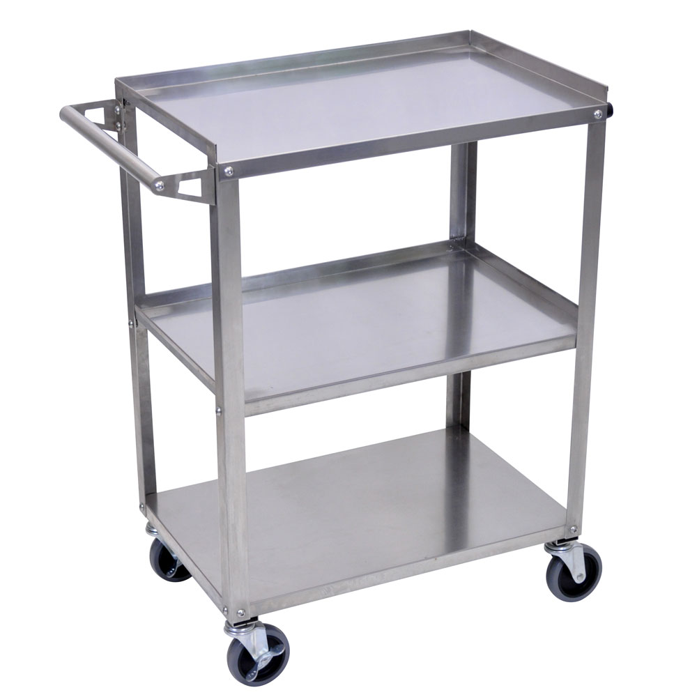 Luxor 3 shelf stainless steel utility cart public for Kitchen utility cart