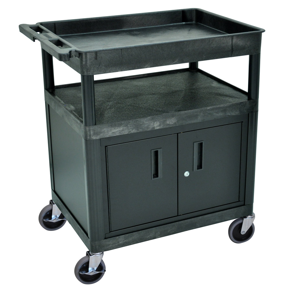 Luxor Kitchen Cabinets: Luxor - Black 3 Shelf Tub Cart With Cabinet