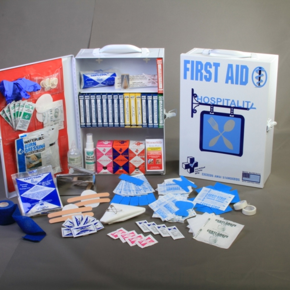Certified safety mfg ansi hospitality first aid kit 75v for First aid kits for restaurant kitchens