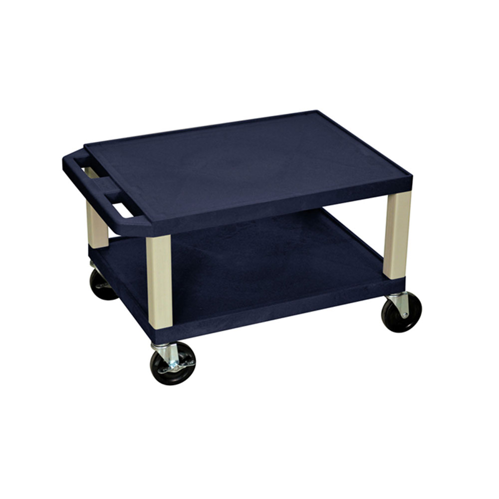 "H Wilson - 16"" Navy 2-Shelf Putty Leg Tuffy AV Cart"