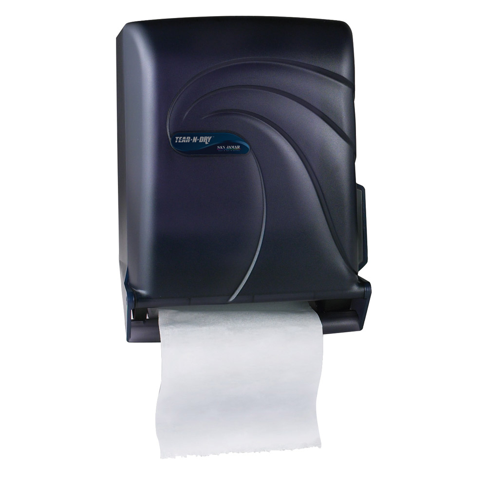 san jamar touchless tear n dry paper towel dispenser black public kitchen supply. Black Bedroom Furniture Sets. Home Design Ideas