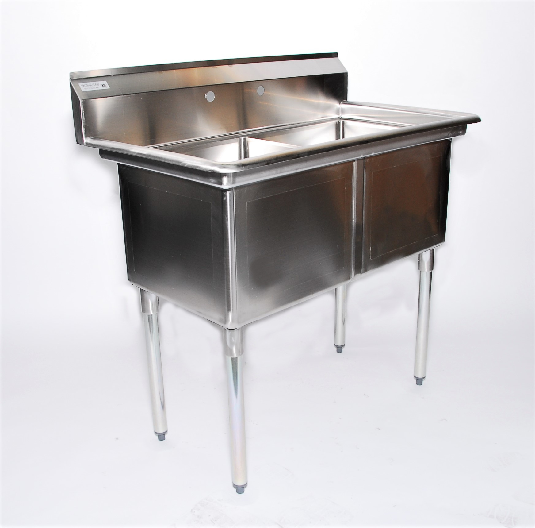 Iron Guard-Sink 2 Comp  24 X 24 X 14 with No Drainboards 304 Top Galv Legs (SKIC2T24241400) | Public Kitchen Supply
