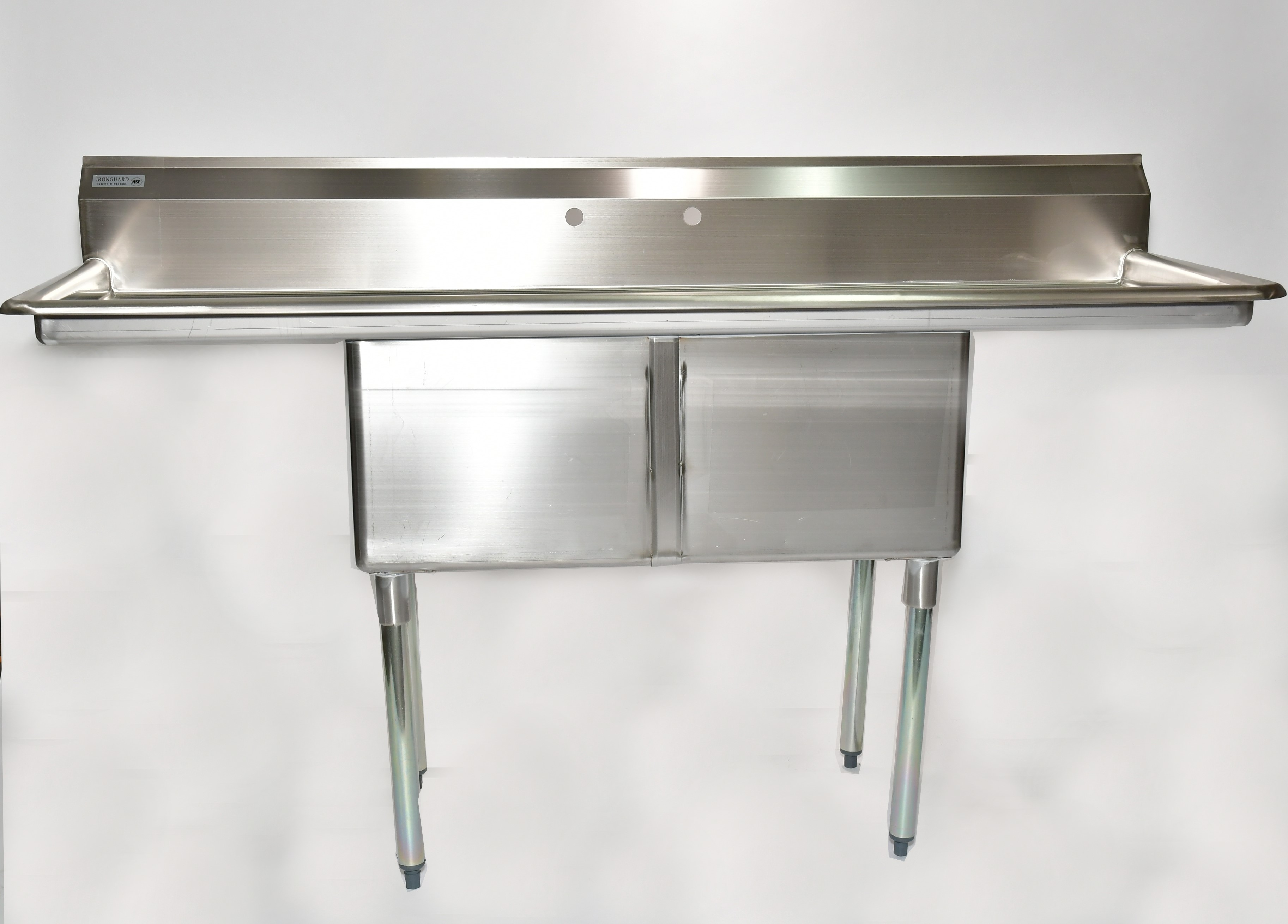 "Iron Guard-Sink 2 Comp  18 X 24 X 14 with 18"" Right and Left Drainboards 304 Top Galv Legs (SKIC2T18181418RL) 