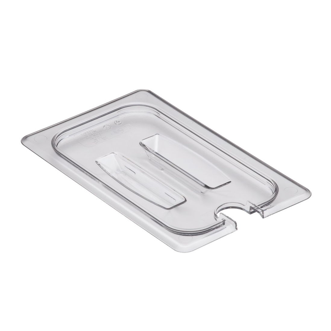 Cambro - 1/4 Size Food Pan Cover Handle & Notch Clear | Public Kitchen Supply