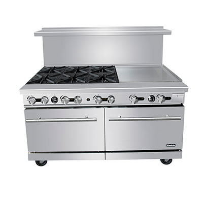 "Padela- Range, gas, 60""W x 32.6""D x 56.4""H, (6) 25,000 BTU open burners & 24""W griddle on the right, (PCO-6B24G)"