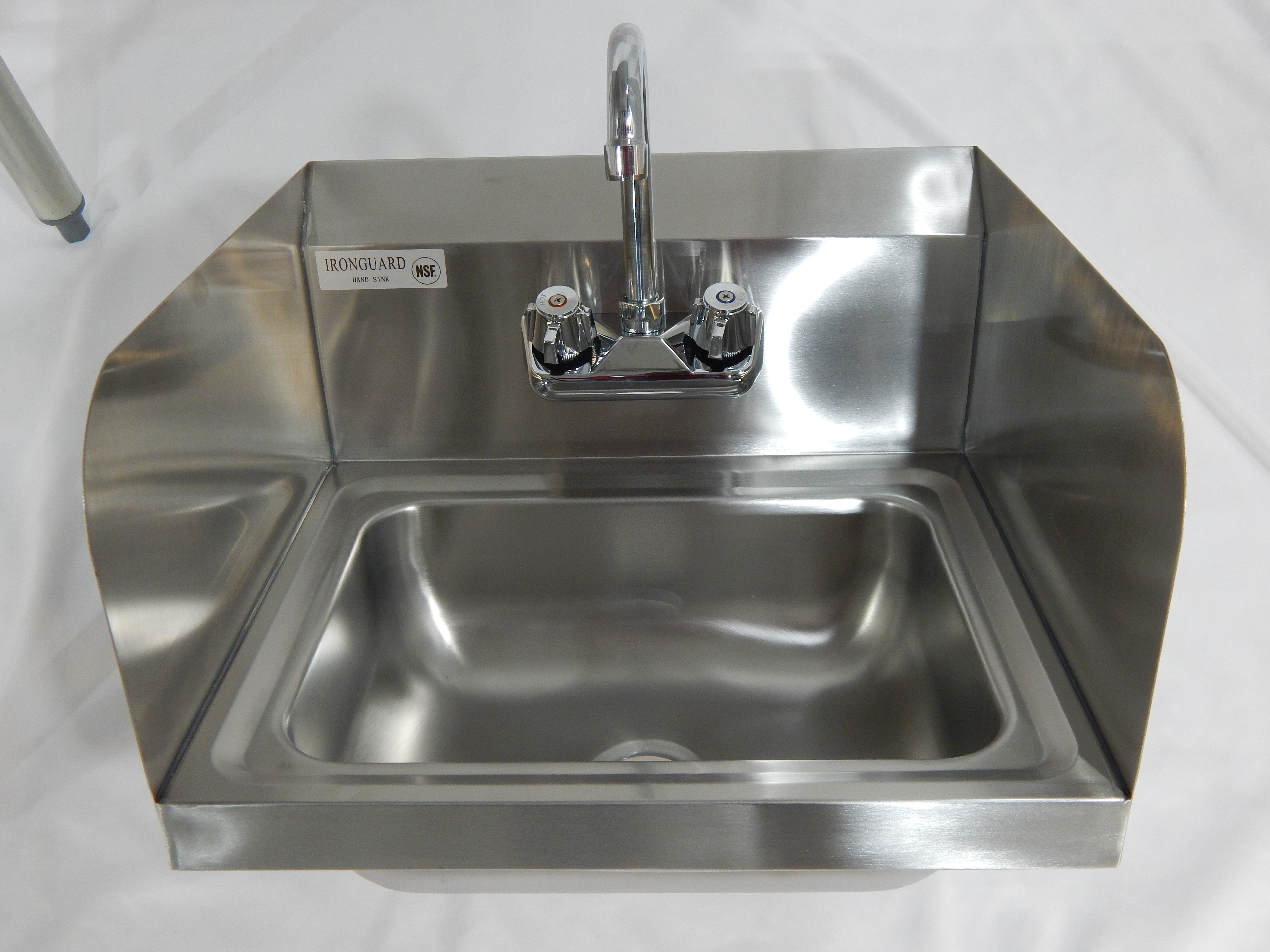 Iron Guard-Hand Sink 12 X 16 Wall Mount SS Sides W Faucet | Public Kitchen Supply