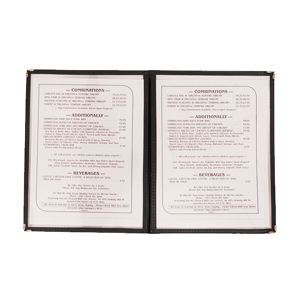 Update International - Black Double-Fold Menu Cover | Public Kitchen Supply