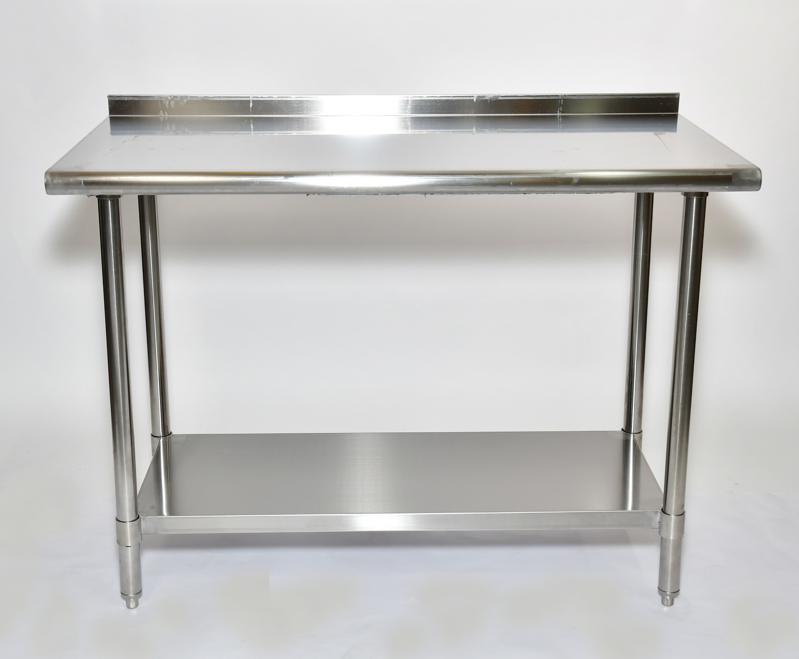 "Iron Guard-Work Table All SS 24 X 24,  430-16GA with 2"" Back Splash 18GA Undershelf (SKIWT2424EBS) 