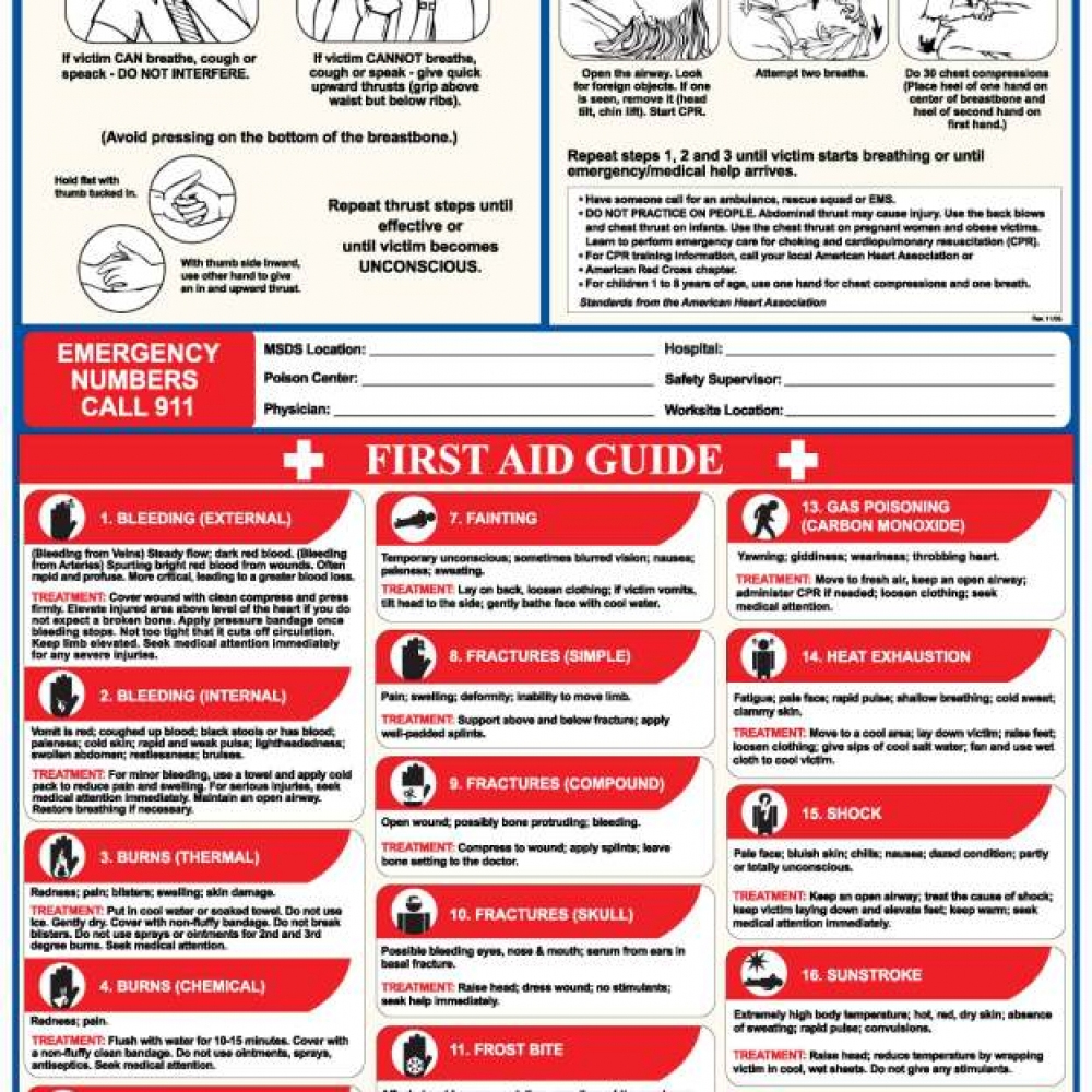 Certified Safety Mfg First Aid Poster English Public